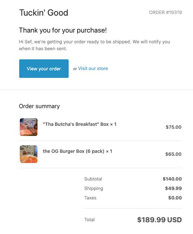 Burger Beast's Tuckin' Good Order