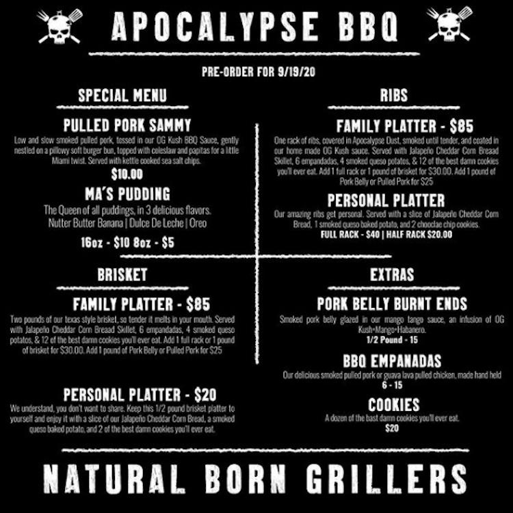Menu from Apocalypse BBQ