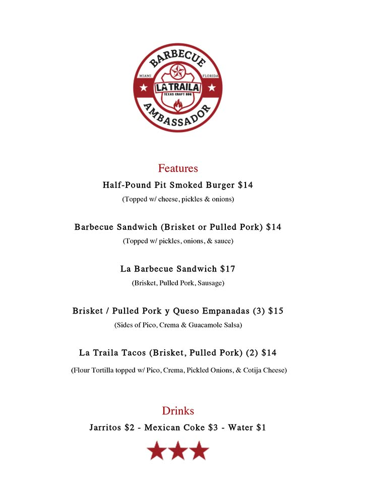 After Hours Menu from La Traila Barbecue