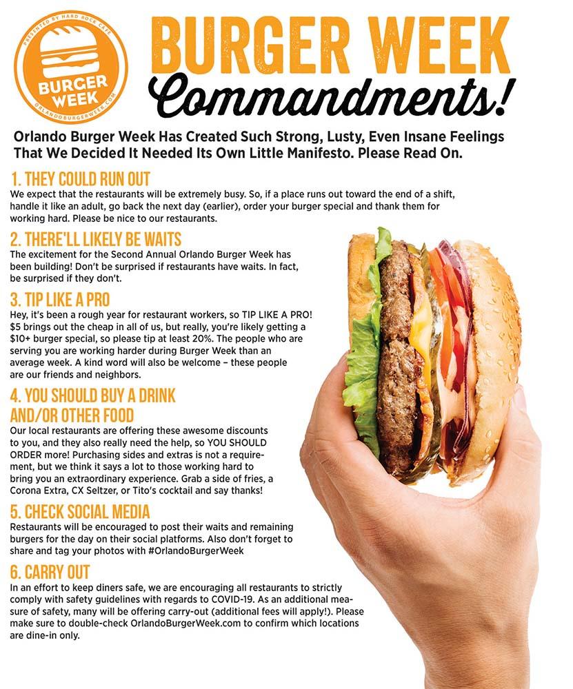 Orlando Burger Week Commandments
