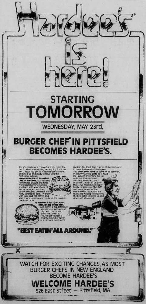 Burger Chef becomes Hardee's in the Berkshire Eagle 5-22-84