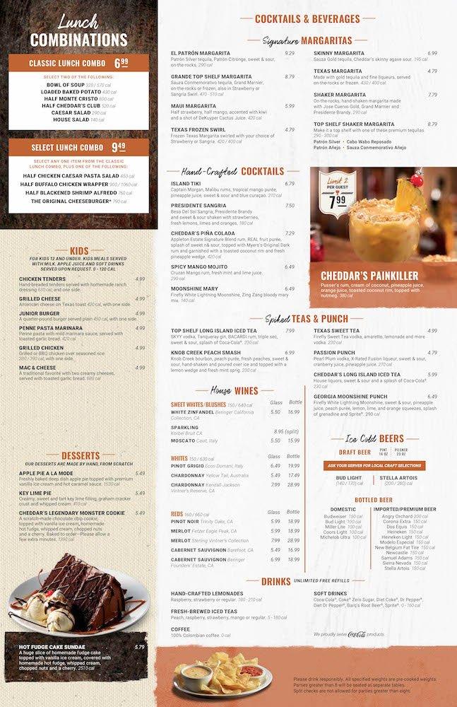 Cheddar's Scratch Kitchen Menu Page 2