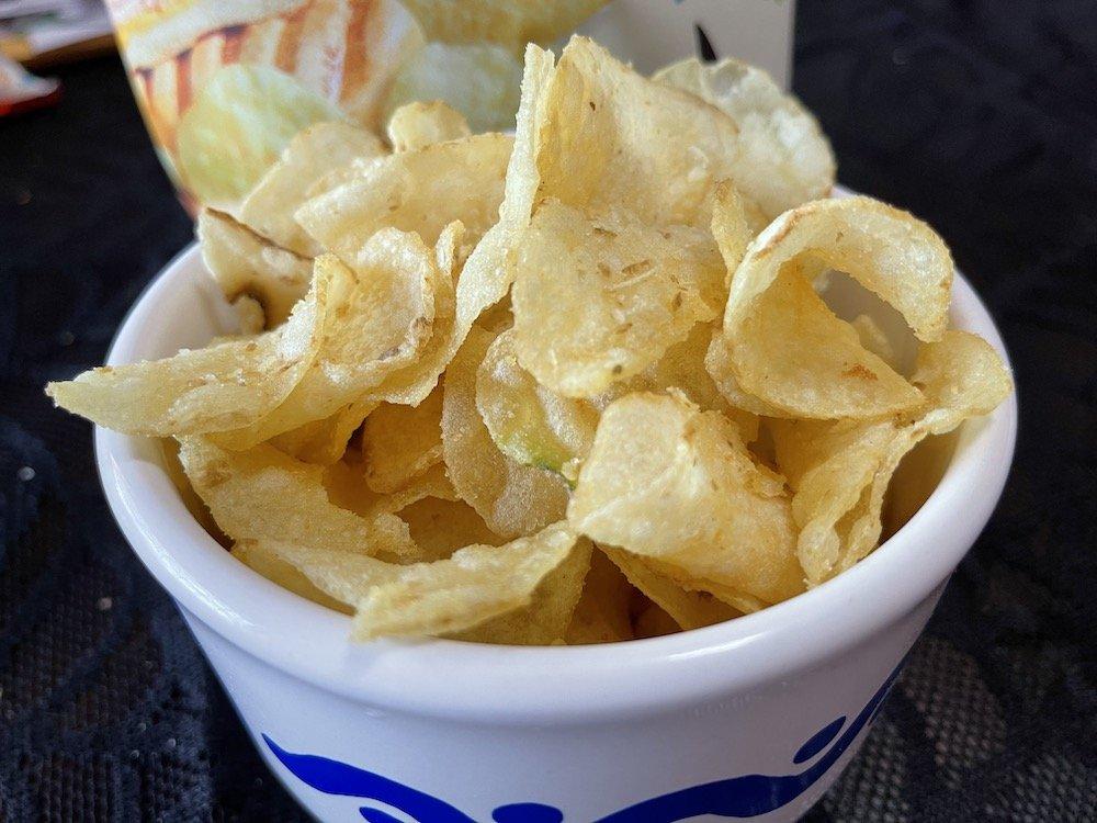 Cuban Sandwich Potato Chips in a Bowl
