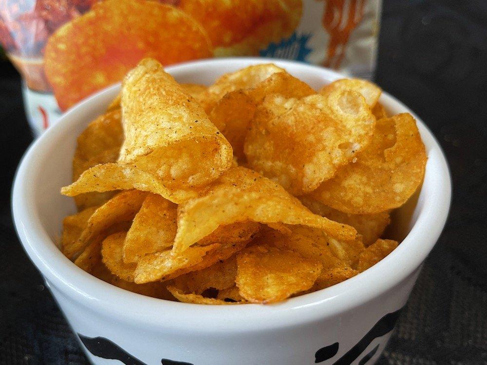 Nashville Hot Potato Chips in a Bowl