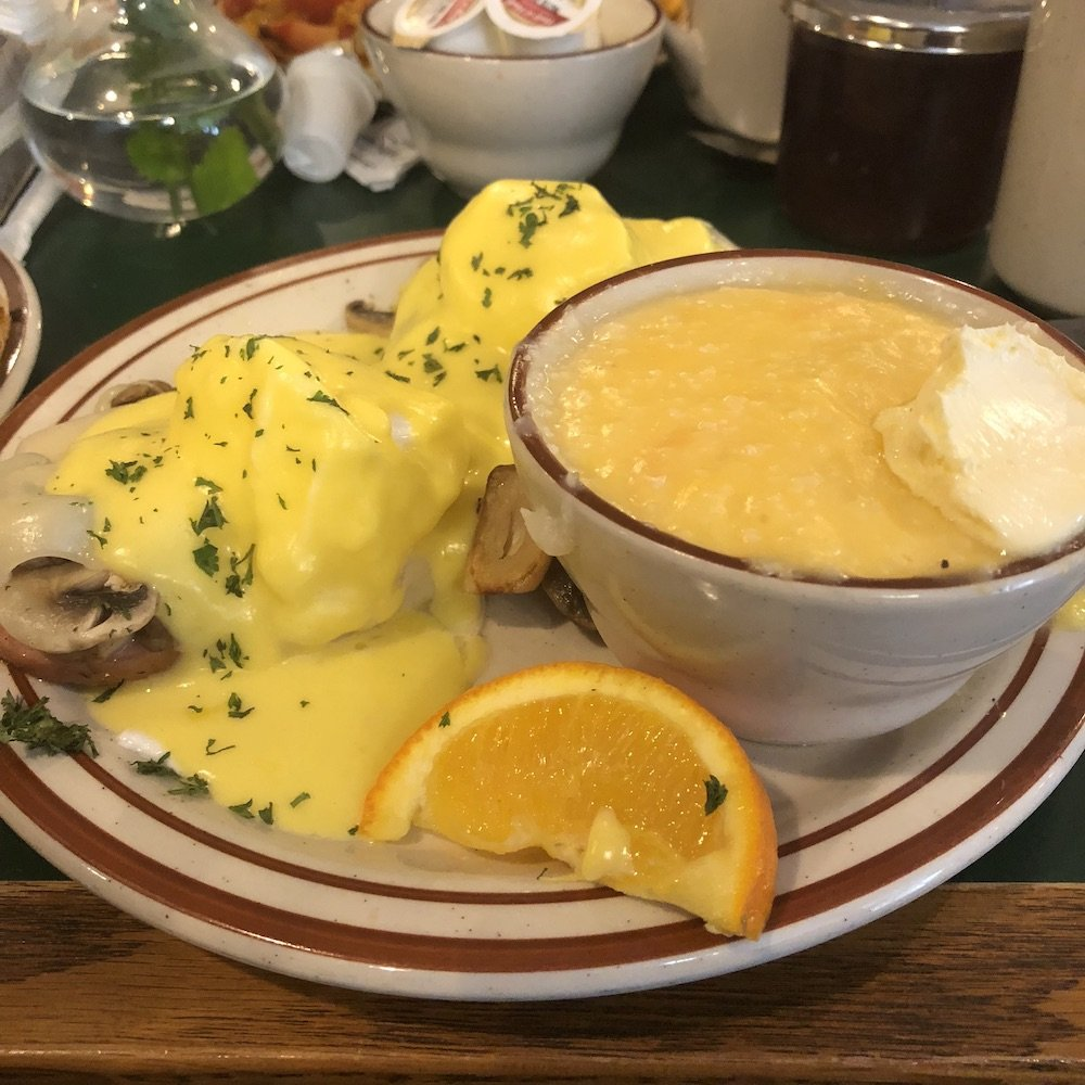 Eggs Benedict & Grits with very little Butter