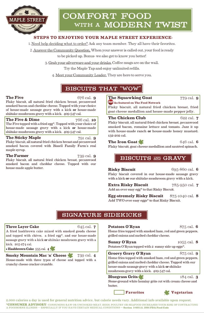 Maple Street Biscuit Company Menu Page 1