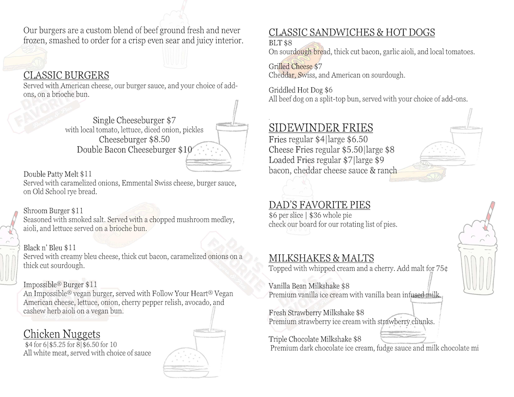 Dad's Favorite Burgers & Pies Menu