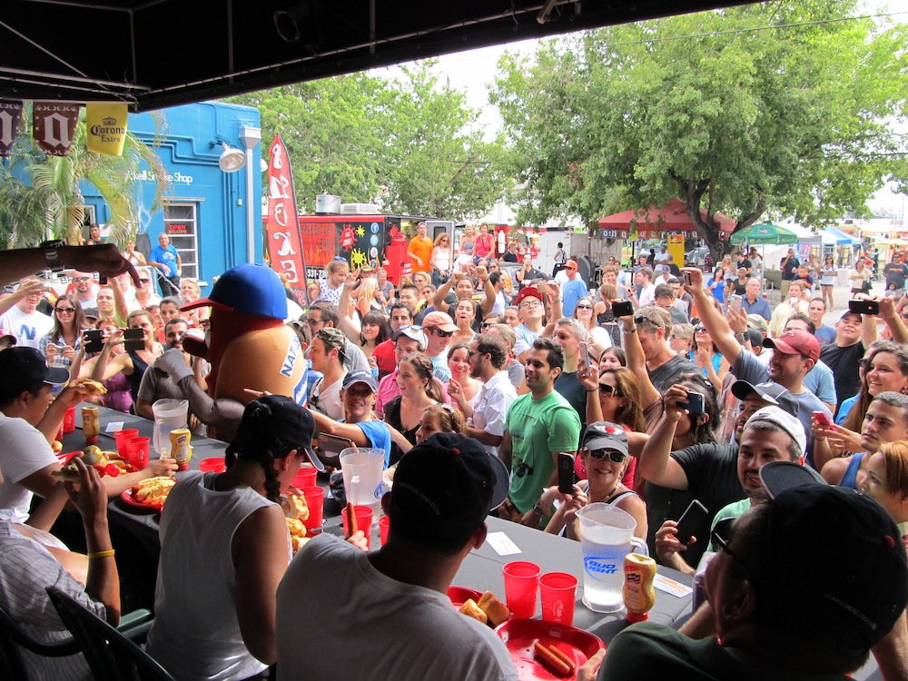 Hot Dog Eating Contest Crowd at Hot Dog Fest 2013