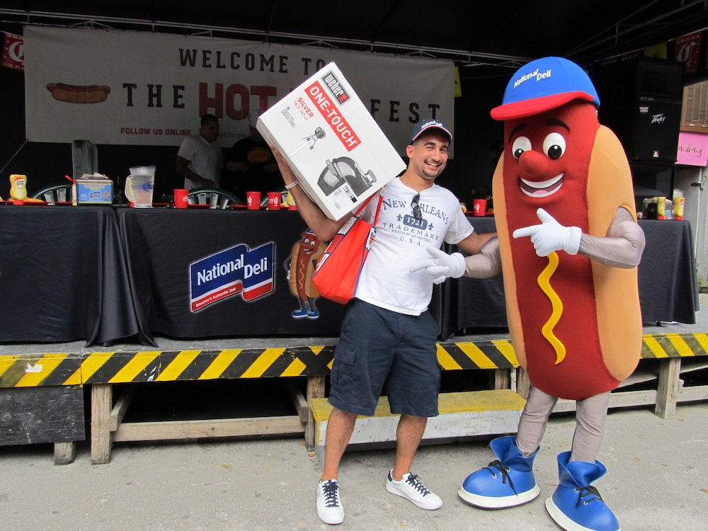 Hot Dog Eating Champ Omar with National Deli Giant Wiener