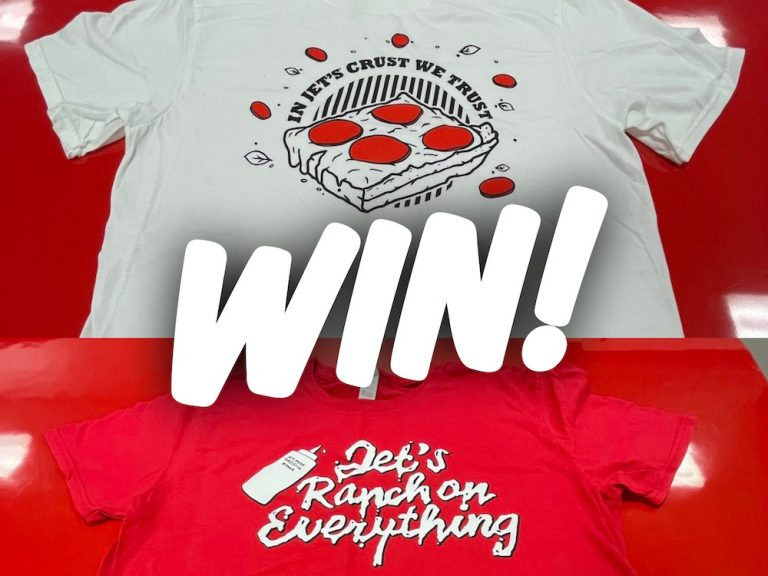 Win a Jet's Pizza T-shirt & $25 Gift Card