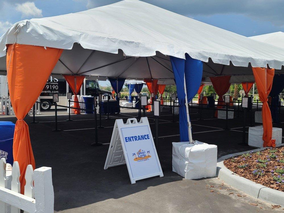 White Castle in Orlando Entrance Tent Queue