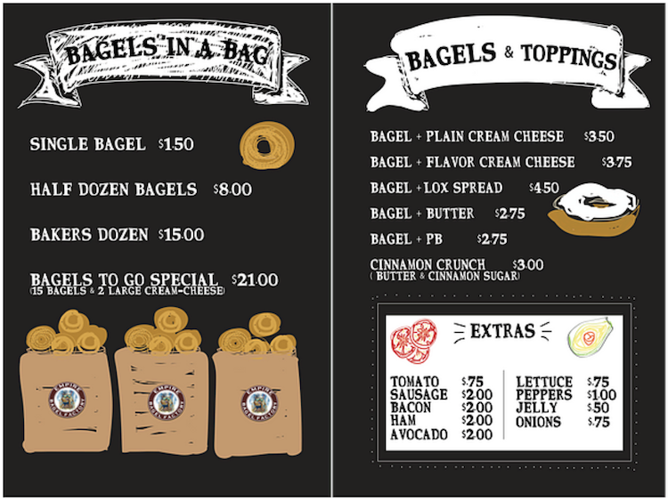 Empire Bagel Factory Bagels Menu