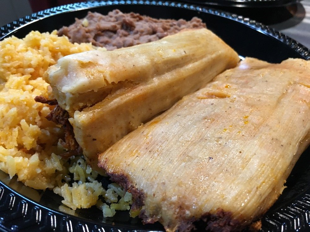 Tamales with Rice and Refried Beans