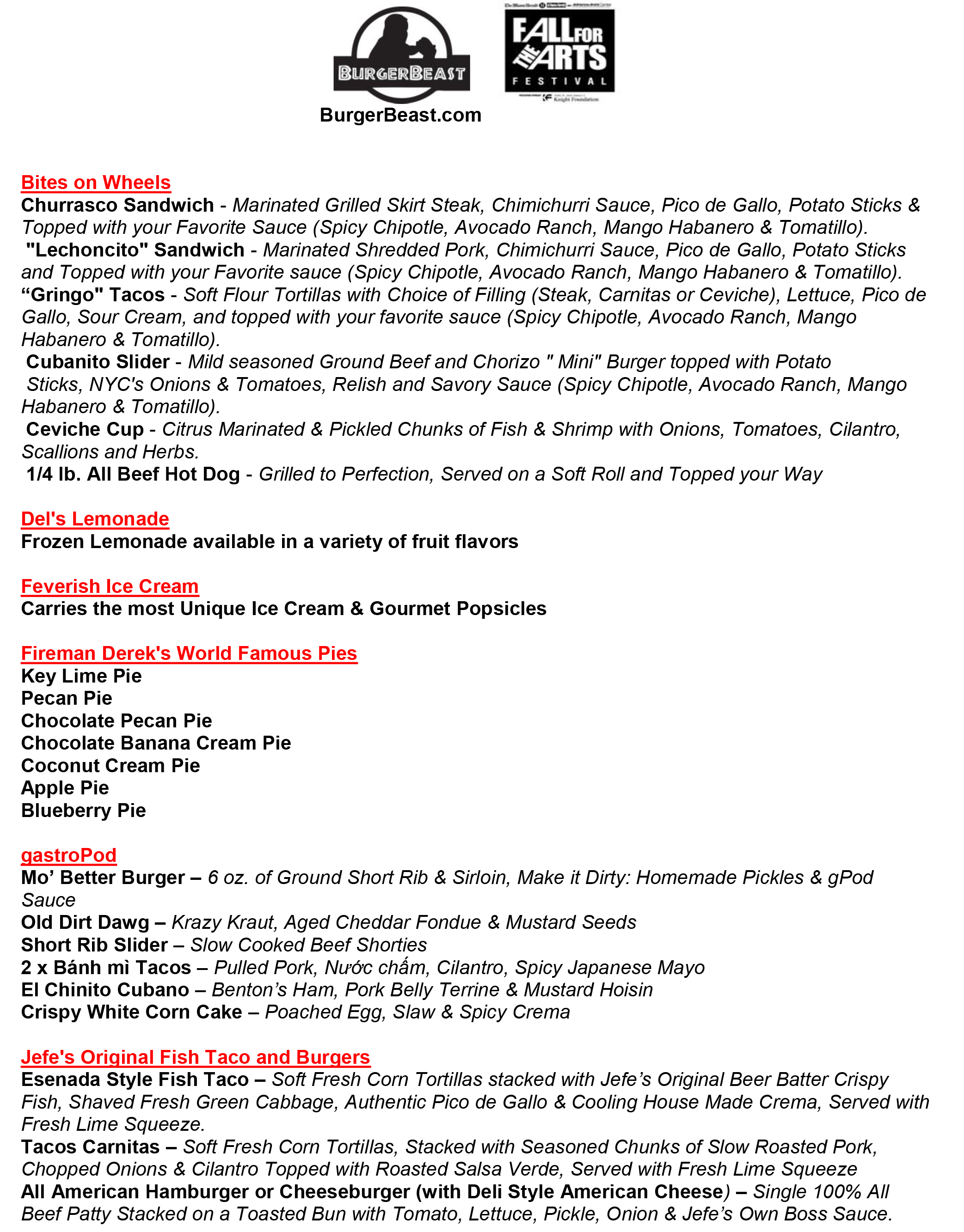 Fall For The Arts Menu Page 1