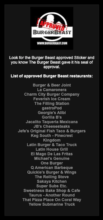 Original Burger Beast Approved List