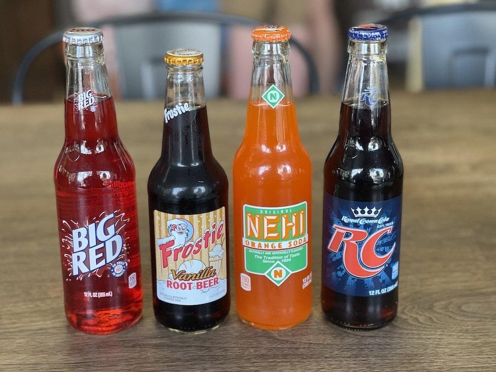 Big Red, Frostie Vanilla Root Beer, NEHI Orange & RC Cola Glass Bottle